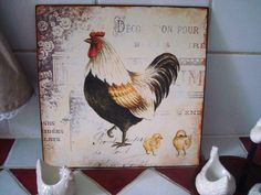cadre poule Chickens And Roosters, Coq, Decoration, Animals, Design, Objects, Board, Dekoration, Animales
