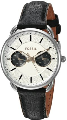 Fossil Tailor Multifunction Leather Watch - Black
