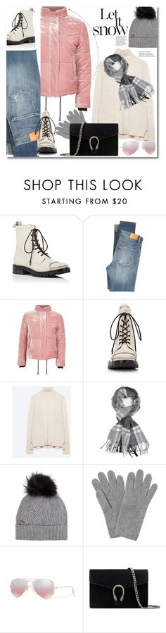 """""""Get the look"""" by vkmd ❤ liked on Polyvore featuring Alexander Wang, Citizens of Humanity, Topshop, Achillea, Woolrich, L.K.Bennett, Ray-Ban, Gucci and puffers"""