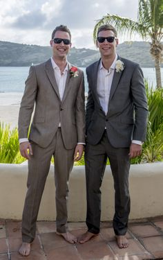 The Boys!! Chris & Pippa's wedding Antigua - Suit by Steve Bishop Suiting