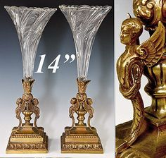 """Pair Antique French Bronze & Glass 14"""" Figural Epergne   Photo credit: Antiques & Uncommon Treasure"""