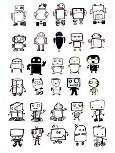 Little robots Children's drawing Illustration Stick figure Graffiti Cartoon . Little robots Children's drawing Illustration Stick figure Graffiti Cartoon painting Wallpaper Material. Doodle Art, Doodle Sketch, Doodle Drawings, Easy Drawings, Arte Robot, Robot Art, Child Draw, Robot Sketch, Robots Drawing