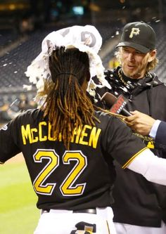 Before A.J. Burnett puts a pie in Andrew McCutchen face after the Pirates WIN