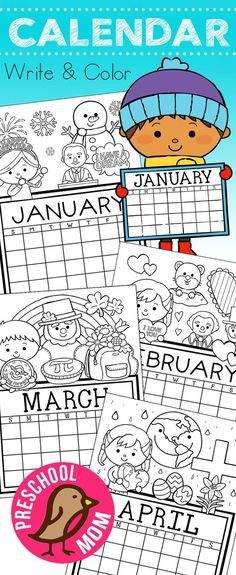 Free Monthly Calendar: Write & Color How Cute R These! Free set of Calendar for students to Write and Color. This set is super cute and features monthly themes and holidays. Kindergarten Calendar, Student Calendar, Preschool Calendar, Free Monthly Calendar, September Calendar, Calendar Activities, Classroom Calendar, Calendar Time, Printable Calendar Template