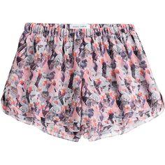 Prabal Gurung Printed Silk Shorts ($260) ❤ liked on Polyvore featuring shorts, multicolor, elastic waistband shorts, prabal gurung, patterned shorts, pink shorts and slim shorts