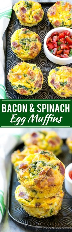 This recipe for breakfast egg muffins is an easy grab and go option for busy mornings. The protein packed egg muffins are loaded with bacon, cheddar cheese and spinach for maximum flavor! (Breakfast Recipes Make Ahead) Breakfast Desayunos, Breakfast Dishes, Breakfast Recipes, Breakfast Casserole, Breakfast Ideas, Breakfast Healthy, Sausage Breakfast, Keto Breakfast Muffins, Grab And Go Breakfast