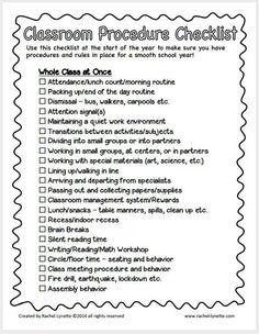 Beginning of school checklist