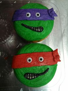 Ninja turtle cupcakes I am going to attempt for James's birthday party!!