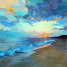 Summer Sunset by Trisha Adams Oil ~ 30 x 30 Wonderful slide show of her work on her site. Click on thumbnail to enlarge.