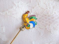 Sterling Vermeile Guilloche Snuff-Spoon Rooster  Hans Myhre Norway