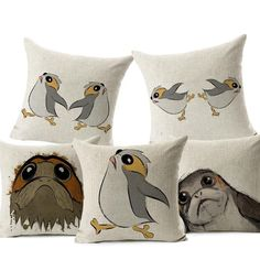 Star Wars Porg Throw Pillow Cover