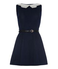 Look at this #zulilyfind! Navy & White Belted Sleeveless Dress #zulilyfinds