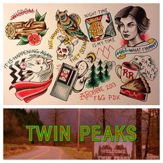 Twin Peaks tattoo flash by Alana Robbie in Portland, OR. www.alanatattoos.com (at Freaks And Geeks Tattoo)
