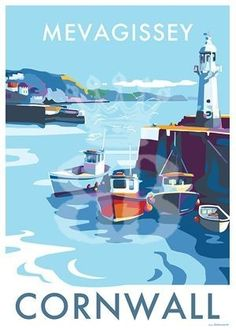 Mevagissey vintage style travel poster and seaside print forms part of the British Coastlines travel art collection. Created by Devon Artist Becky Bettesworth. Posters Uk, Railway Posters, Art Deco Posters, Poster Prints, Retro Posters, British Travel, British Seaside, Seaside Uk, Seaside Holidays