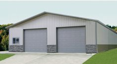 Provide the perfect space for automobiles, landscaping supplies and more with this 40'W x 63'L x 14'H Garage. You'll be able to easily move vehicles and machinery in and out through the steel overhead garage doors. And the building features stone and steel wainscoting, giving it an appealing polished look.