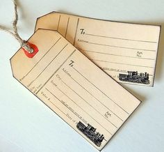 train railway tag vintage train image luggage tags by 0namesleft, $14.40