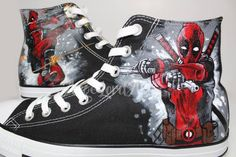 0d9c3a4b6738 Custom Painted Deadpool inspired Converse Hi Tops shoes sneakers.   Advance  order for painting from Jan 2019 omwards