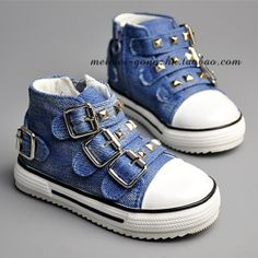 Spring 2014 new Children's canvas shoes Boys and Girls Baby Kids jeans rivets buckle athlertic shoes sneakers $21.99