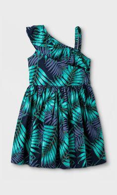 palm leaf one shoulder dress for toddlers #toddler #affiliate