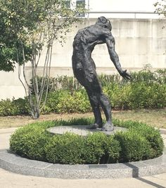 This piece of artwork is near the Nursing building. I wonder what emotion he is portraying and why the designers depicted him nude