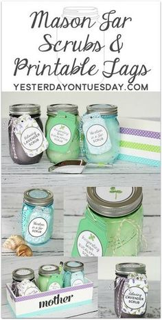 Lovely printable Mason Jar Tags and Lid Circles to coordinate with three easy and wonderful DIY scrubs that you can store in Mason Jars. Great gift idea for Mom, the Grad, Teachers, Friends or Neighbors!