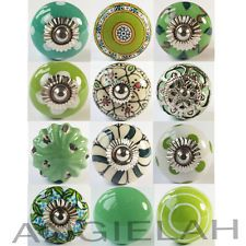 GREEN MIX & MATCH Vintage Shabby Chic Ceramic Door Knobs Handles Cupboard Drawer