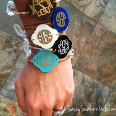 Monogrammed bracelet! Our engraved acrylic wire wrap bangle is the perfect addition to any southern stack! www.sassysoutherngals.com