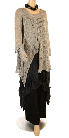 Sarah Santos New Season Intricate Silver Fluid Knit-Sarah Santos, lagenlook,