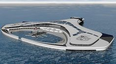 Nomadia project. Designed to be a floating island moored near a particular site (sea exploration, ocean museum, business center) for long periods of time, yet movable at any time.