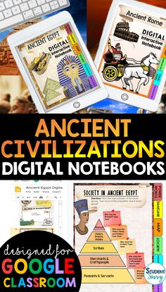 Ancient Civilizations Interactive Notebook {Digital Version} Digital Interactive Notebook using Google Slides! Graphic organizers that students simply type in! Paperless, colorful & fun activities for students! Vocabulary, graphic organizers, and images included 6th Grade Ela, 6th Grade Social Studies, Teaching Social Studies, Student Teaching, Sixth Grade, Fourth Grade, Third Grade, Teaching Themes, Teaching Activities