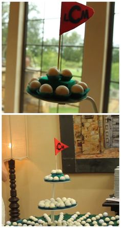 Those are cakeballs in that wedding video, not golf balls! Perfect alternative to a groom's cake for the man who likes to golf.  The couple's monogram is even on the flag! Great wedding dessert idea.
