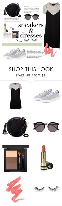"""""""mix and match : sneakers & dresses"""" by trissnr ❤ liked on Polyvore featuring Barbour, Urban Expressions, Illesteva, MAC Cosmetics, Gucci, tarte, monochrome, black and SNEAKERSANDDRESSES"""