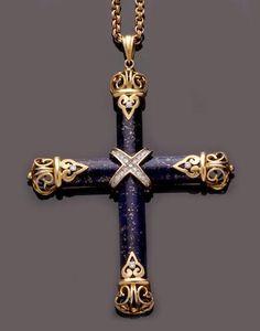 A lapis lazuli and diamond set cross pendant and chain