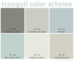 Full home color scheme - calming colors are so popular right now in home decor. Benjamin Moore has some great paint colors that are calming and neutral. #decor #paint #home http://coffeeandpine.blogspot.ca/2015/04/tranquil-color-scheme.html:
