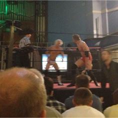 Setting up for Ric Flair style chops Zack Gibson v Marc Morgan