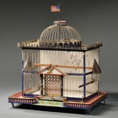 United States Capital Building Centennial Birdcage, late 19th century, ht. 21, wd. 17 1/4, dp. 10 7/8 in.