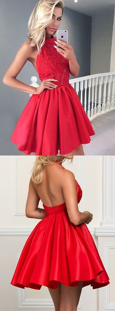 Red homecoming dresses, chic a- line fashion dresses, cheap open back party dresses, women's fashion