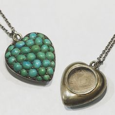 This circa 1870 turquoise locket is just the sweetest! $395. Call to purchase. #turquoise #Victorian #sentimental #heirloom #locket #heart #gilt #giltjewelry