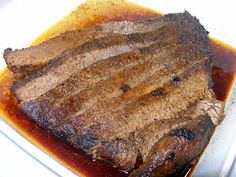Texas Oven Roasted Beef Brisket This is what I made last night for my family and the other family I cook for. It is not a quick di. Brisket Marinade, Bbq Brisket, Texas Brisket, Bloody Mary, Oven Roast Beef, Crockpot Recipes, Cooking Recipes, Smoker Recipes, Beef Dishes