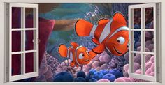 Finding nemo #underwater #world 3d window wall sticker art decal #mural 359,  View more on the LINK: http://www.zeppy.io/product/gb/2/272243627881/