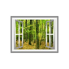 Forest 3D Wall Art Decal Autumn Leaves Window Frame Peel & by VWAQ