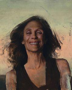 """""""Carmel"""" - Daniel Sprick, oil on board, 2013 {figurative realism art female head smiling woman face portrait cropped grunge painting #loveart} Joy!! danielsprick.com"""