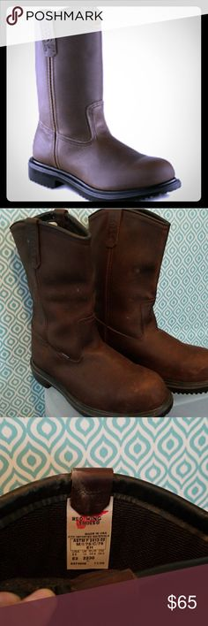 Red Wing Shoes Pecos Men's Boots Used only twice, very durable made of genuine leather work boots. Super sole, 11 in. Pull on boots. Oil resistant, Steel Toe, waterproof. Minor smudges on leather common with usage. Red Wing Shoes Shoes Boots