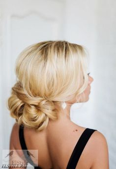low updo hairstyle for wedding - Deer Pearl Flowers