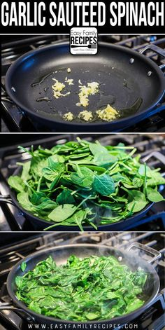 The BEST Sautéed Spinach - 5 Minute Side Dish - Easy Family Recipes - wilhelmina. Cooked Spinach Recipes, Cook Fresh Spinach, Fried Spinach, Sauteed Spinach Garlic, Recipes With Fresh Spinach, Cooking With Spinach, Spinach Ideas, Watercress Recipes, How To Make Spinach