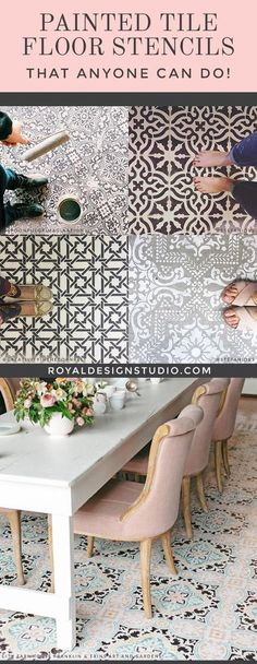 Painted Floor Tiles Have Become a Popular Way to Restore or Update Old Tiles Painted Tile Floor Stencils that Anyone Can Do! 16 DIY Decorating Ideas for Floor Remodeling - Royal Design Studio Tile Stencils and Floor Stencils Painting Tile Floors, Painted Floors, Paint Tiles, Painted Floor Tiles, Machuca Tiles, Room Tiles, Home Remodeling Diy, Home Renovation, Basement Renovations