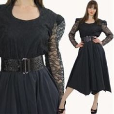 Vintage 80s Sheer lace Black Goth Gypsy Boho Swing Cocktail party maxi Dress