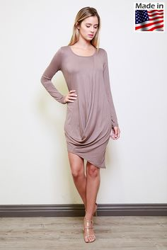 Lumiere fashion AD00883(800529) long sleeved knit asymmetrical dress with front drape.