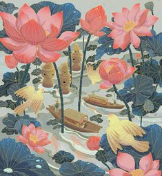 Image may contain: flower, painting and illustration Landscape Illustration, Illustration Art, Art Sketches, Art Drawings, Chinese Drawings, Illustrations And Posters, Magazine Art, Aesthetic Art, Asian Art
