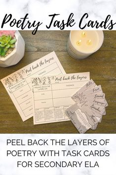 Poetry Task Cards for Middle School and High School ELA High School Biology, High School Art, High School Classroom, High School Students, 7th Grade Ela, Close Reading Strategies, Poetry Lessons, Middle School English, Task Cards